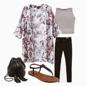 cardigan,floral kimono,floral,kimono,grey,tank top,gray tank top,jeans,pants,denim,black,black jeans,black bag,bag,satchel,sandals,shoes