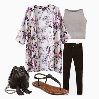 cardigan floral kimono floral kimono gray tank top gray tank top jeans pants denim black black jeans black bag bag satchel sandals shoes