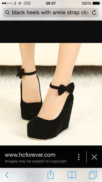 shoes black ankle strap wedges closed toe