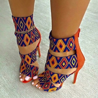 shoes orange shoes blue shoess african print tribal pattern