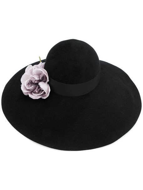 embellished hat floral black