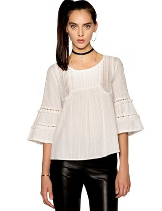 white lace top top pixie market pixie market girl fall trends pre fall transitional pieces trendy tops back to school fall outfits boho top girly lace top white lace detail boho tops bell sleeve top