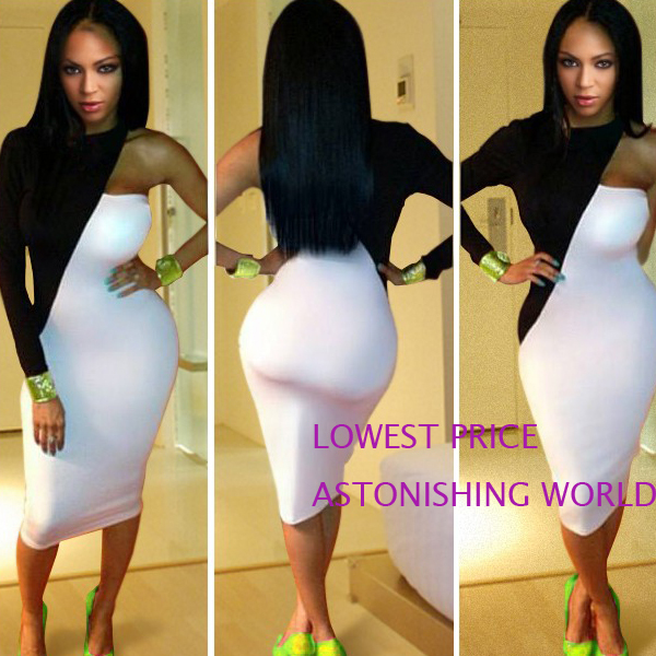 ASTONISHING WORLD Black White One Sleeve Bandage dress High Waisted Patchwork Sexy Bodycon Dress Night Club Dress 5567 -in Dresses from Apparel & Accessories on Aliexpress.com