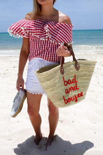 bows&sequins blogger top shorts shoes bag sunglasses plaid top basket bag beach sneakers summer outfits