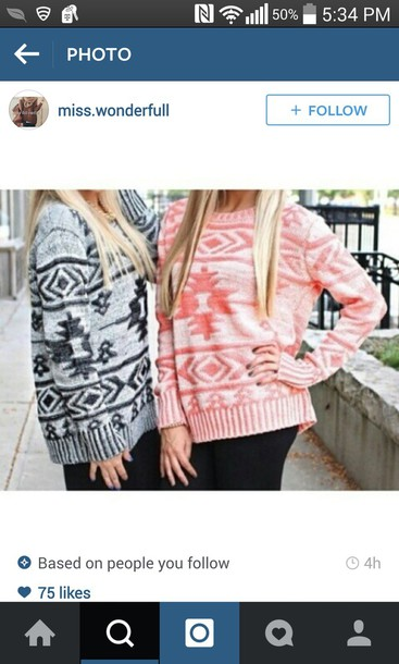 sweater pink sweater grey sweater cute sweater patterned sweater