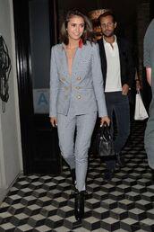pants,blazer,nina dobrev,suit,jacket
