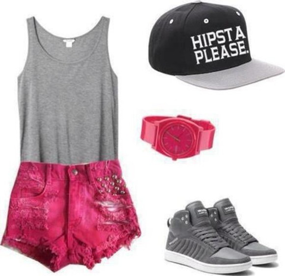 shorts pink shorts pink tank top high waisted short watch cute, shorts, studs, cool, dipdye hat shoes