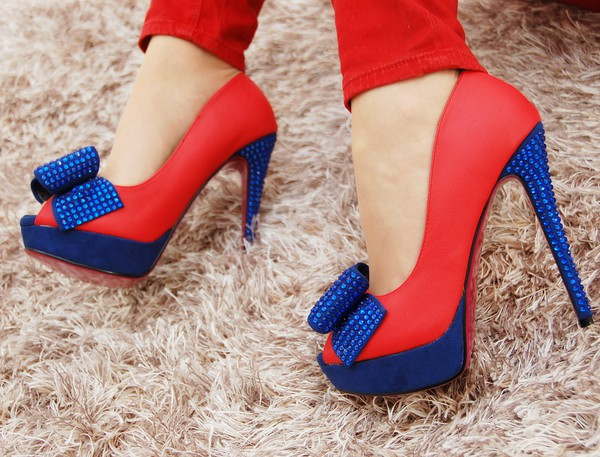 shoes reg sohle red blue crytsal heels high heels