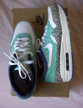 shoes,sneakers,sporty,nike,nikes,air max,nike air max 1,blue,leather,purple,electric,bright blue,white