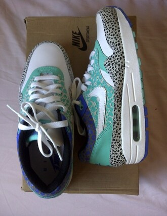 shoes sneakers sporty nike nikes air max nike air max 1 blue leather purple electric bright blue white