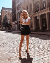 shorts,black shorts,top,white top,bag,crossbody ba,shoes