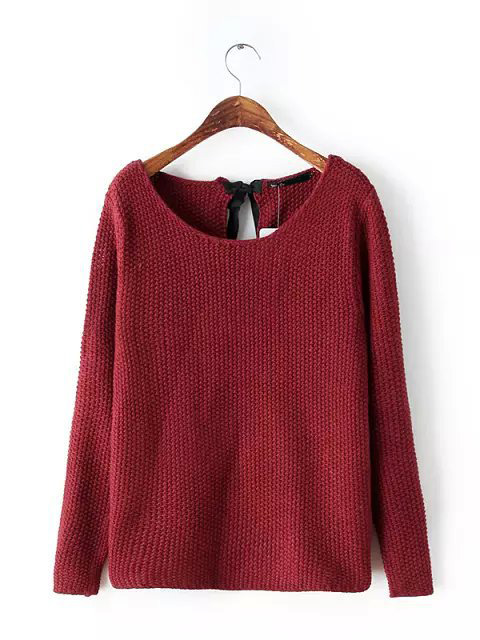 Bow tie back plain knitted sweaters claret