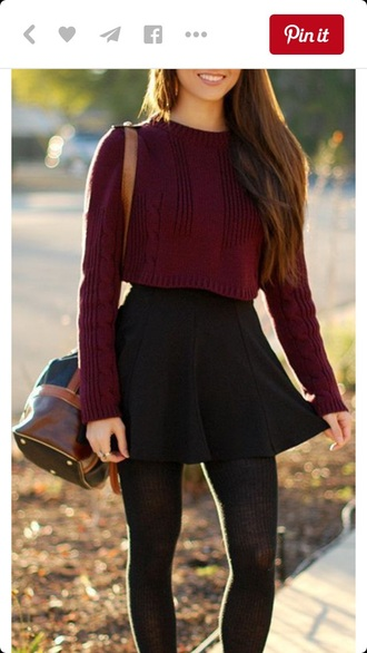 sweater black skater skirt skater skirt red sweater knitted sweater knit sweaters black skirt skirt