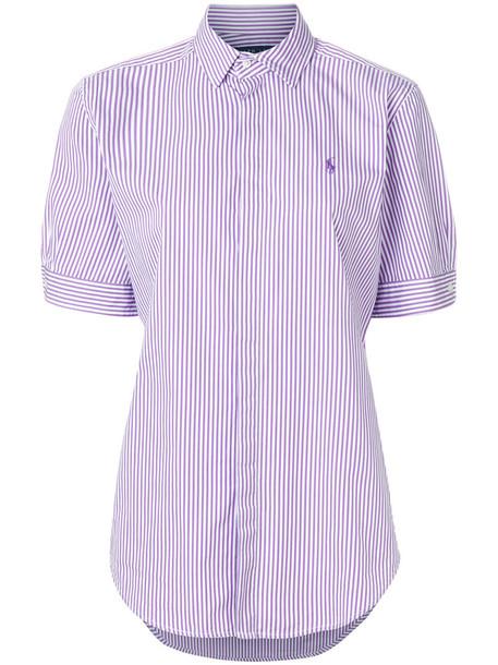 Ralph Lauren - striped shirt - women - Cotton - 6, Pink/Purple, Cotton