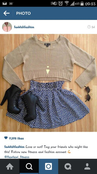 sweater shirt skirt boots instagram