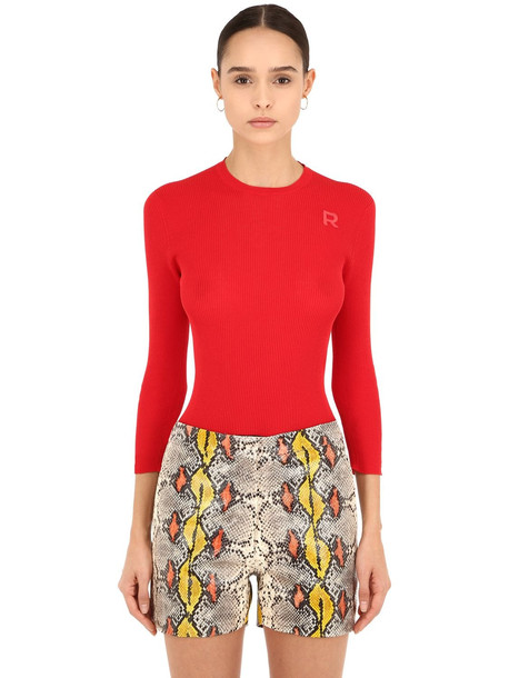 ROCHAS Cotton Rib Knit Sweater in red