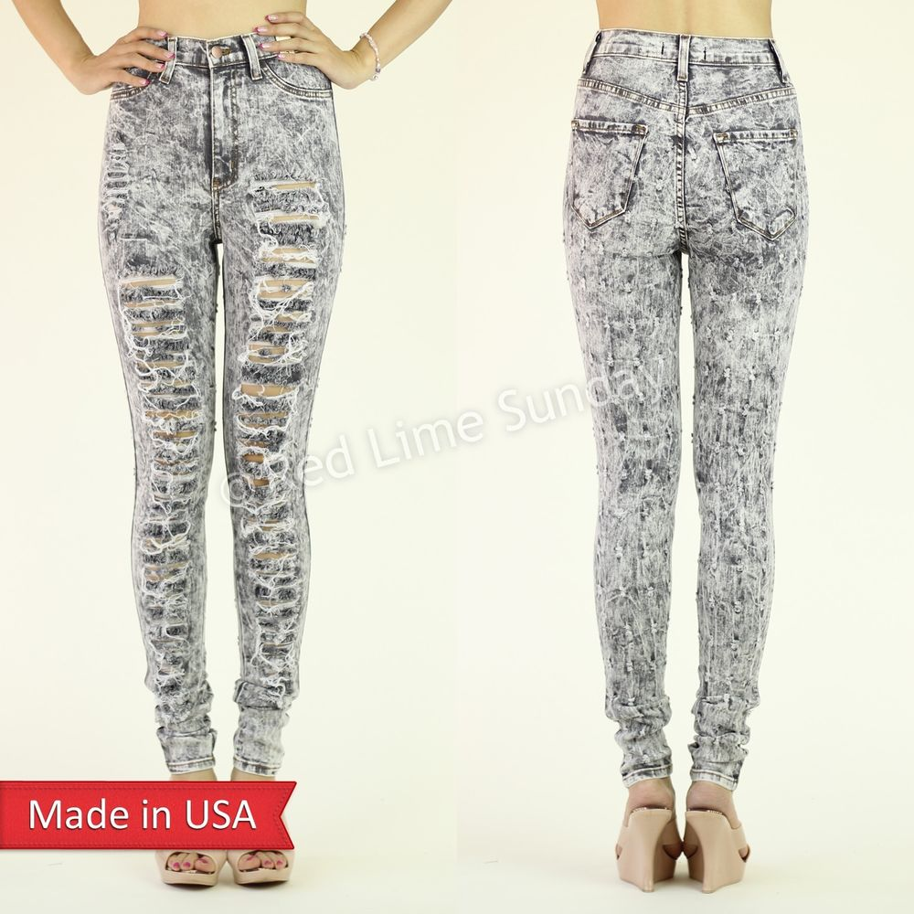 High Waist Washed Gray Skinny Destroyed Ripped Cut Denim Jeans Regular Plus USA
