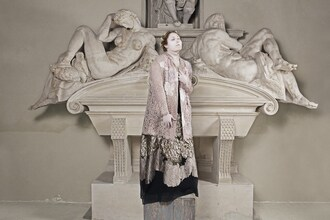 coat antonio marras neoclassical cotton lace luxury haute couture winter outfits winter 2015 trends pastel hayley hasselhoff plus size curvy plus size model editorial florence italy high end designer holiday outfit