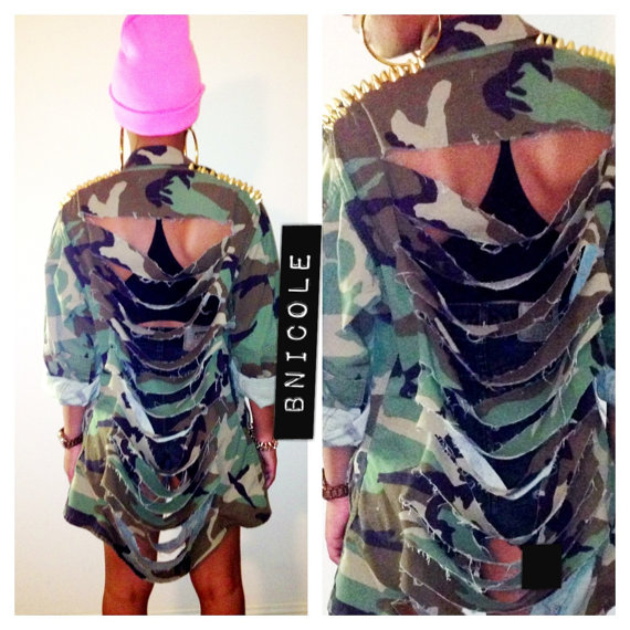 Army Jacket Ripped Studded Spiked Gold Silver Camo by ShopBNicole