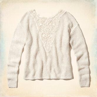 sweater crochet lace white