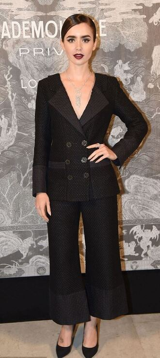 pants all black everything lily collins pumps suit blazer tailoring