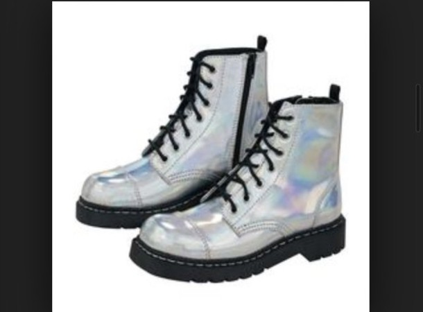 shoes boots DrMartens shiny silver shoes