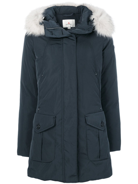 Peuterey coat fur fox women blue