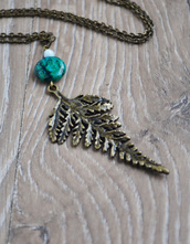 jewels,fern,nature,coachella,cute,cute necklace,plants,nature jewelry,love n lavish,botanical,leaf jewelry