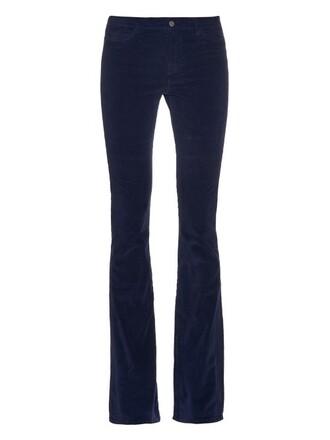 flare velvet navy pants