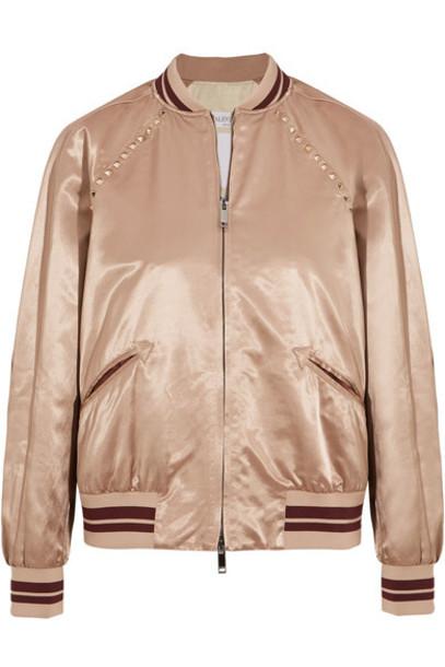 jacket bomber jacket satin bomber embellished satin blush