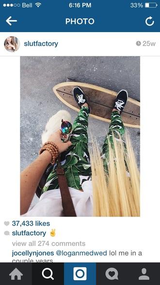 pants leaves leaf sneakers skateboard longboard purse
