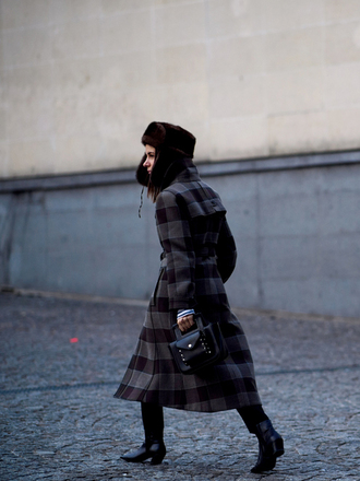 coat fashion week 2017 tumblr printed coat printed long coat long coat hat fur hat bag black bag tartan plaid pants black pants stirrup pants boots black boots mid heel boots streetstyle