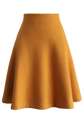 skirt tender a-line skirt in mustard chicwish a-line mustard