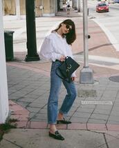 lefashion,blogger,sunglasses,blouse,bag,jeans,shoes,white blouse,spring outfits,loafers,shoulder bag