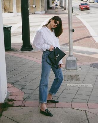 lefashion blogger sunglasses blouse bag jeans shoes white blouse spring outfits loafers shoulder bag