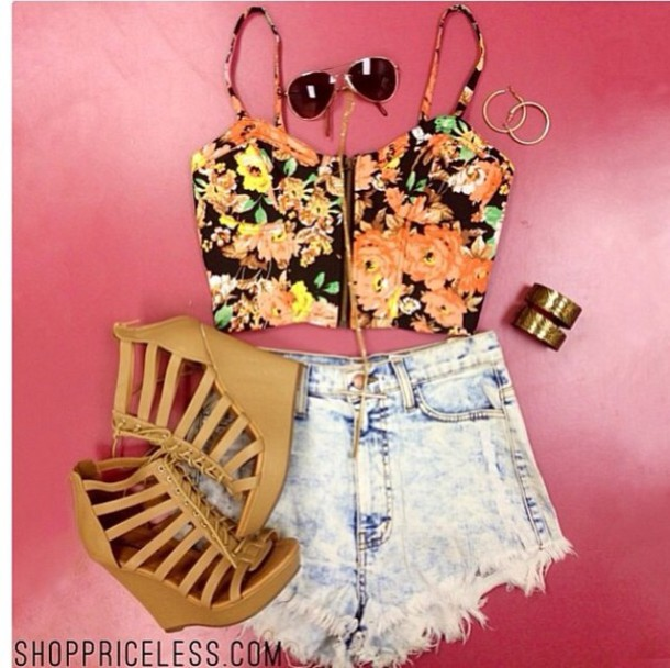 tank top shoes shorts sunglasses caged wedges