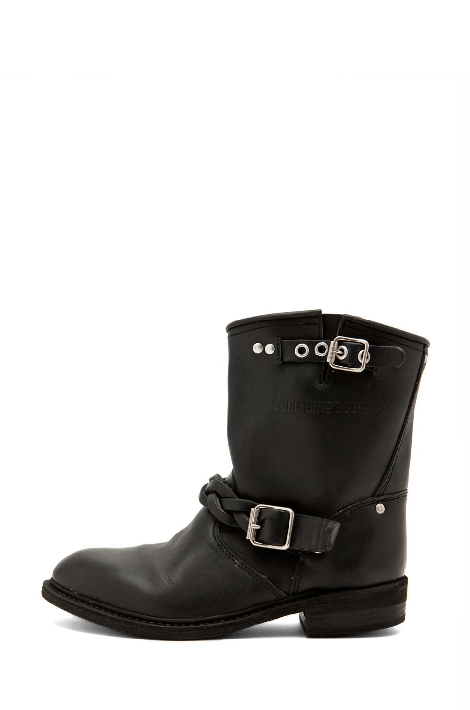 golden goose leather short biker boots in black. Black Bedroom Furniture Sets. Home Design Ideas