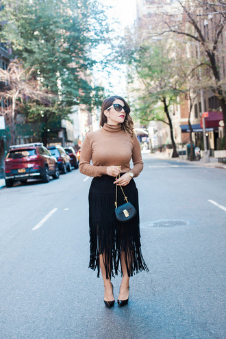 the corporate catwalk blogger mini bag fringe skirt
