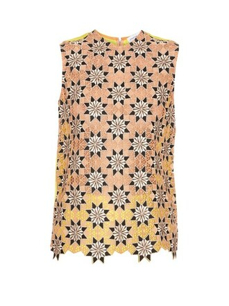 top sleeveless top sleeveless lace yellow
