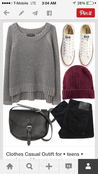 sweater back to school grey high low converse beanie