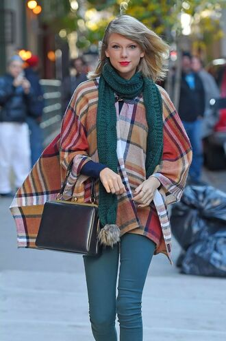 cardigan checkered scarf taylor swift hat bag