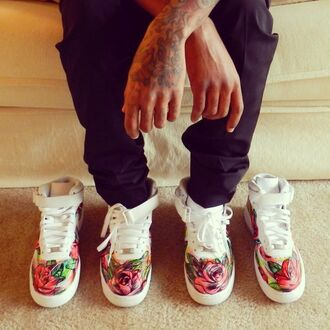 shoes floral dope nike air force 1 roses original custom shoes sneakers swag wavy pink and red tattoo nike