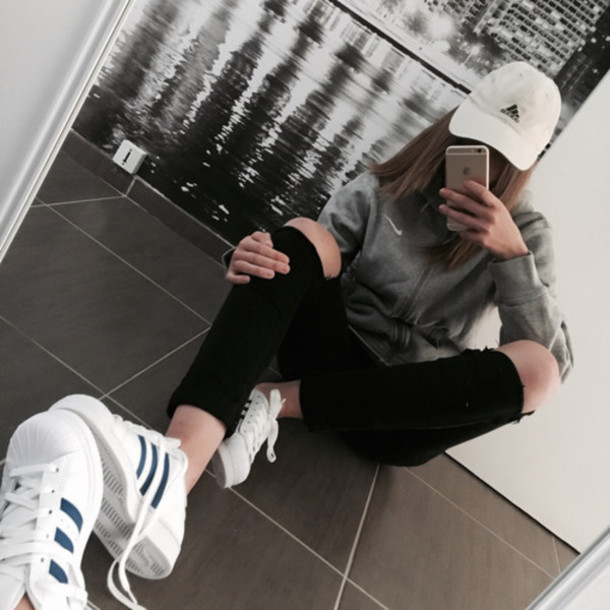 shoes adidas blue superstar white girl