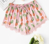 shorts,pink,girly,pineapple print,pineapple,pineapple shorts,lounge wear,lounge shorts