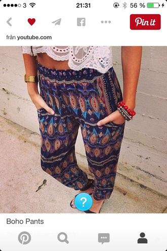 pants boho chic bohemian mandala pattern chill printed pants
