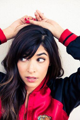 jacket silk red jacket bomber jacket satin bomber actress new girl hannah simone