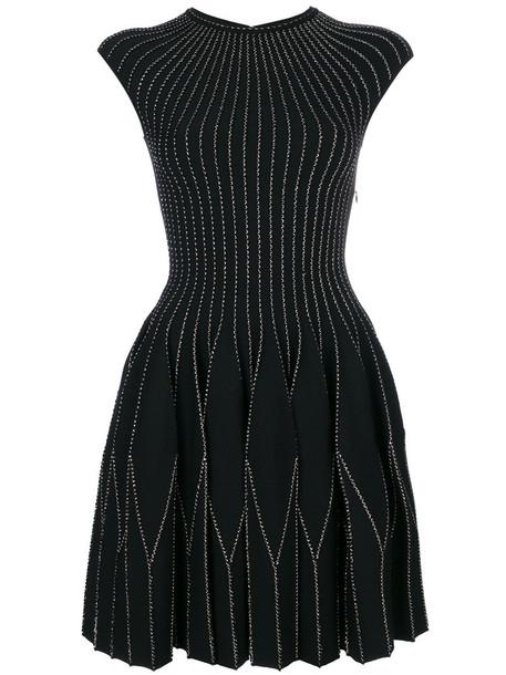 Alexander Mcqueen dress mini dress mini embroidered women black wool