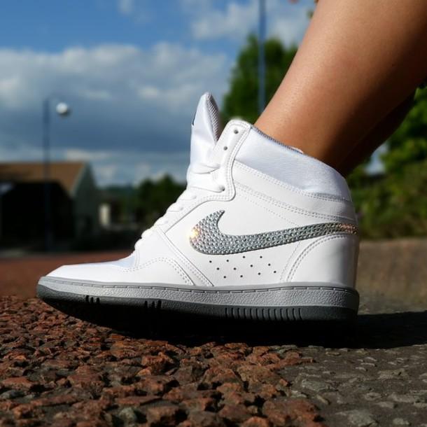 shoes crystalnike swarovski nike free runs 5.0 customnike nike force sky hi  wedges wedge sneakers nikewedge 5c203718f
