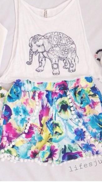 silk flowy shorts multicolor