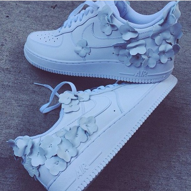 timeless design a5891 98f35 shoes flowers white flowers nike low top girly pretty white nike air force  one nike air